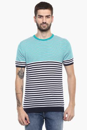 UNITED COLORS OF BENETTONMens Crew Neck Striped Sweater