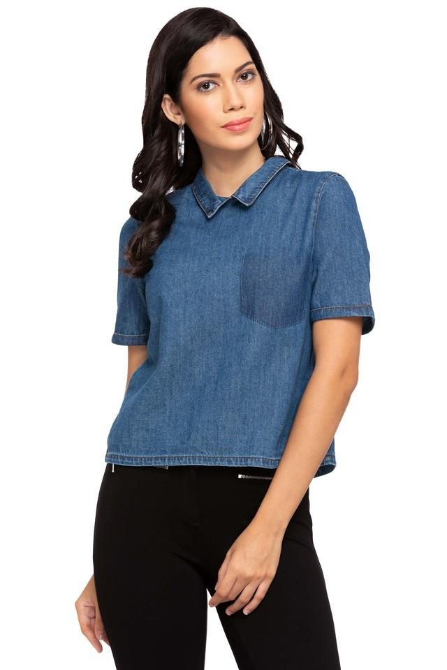 Womens Collared Assorted Button Closure Back Shirt