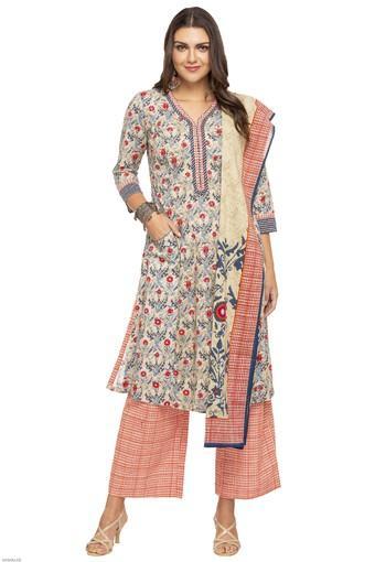 990c2df91a4 Buy BIBA Womens V-Neck Printed Palazzo Suit