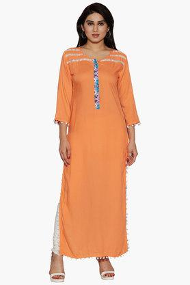 JASHN Womens Round Neck Colour Block Kurta