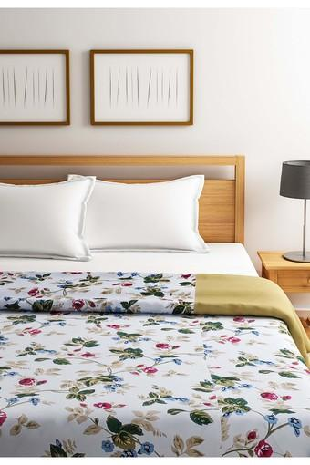 Sea Green and Off White Floral Double AC Comfortor