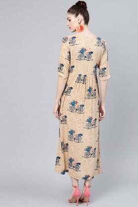 Womens Notched Collar Printed Calf Length Dress