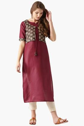 LIBAS Womens Cotton Solid Straight Kurta With Attached Jacket