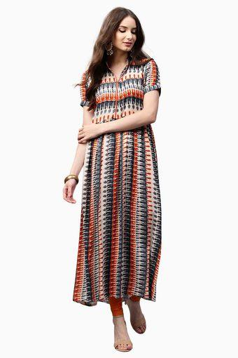 Womens Band Neck Printed Anarkali Kurta