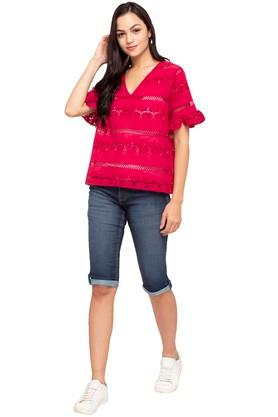Womens V-Neck Perforated Top