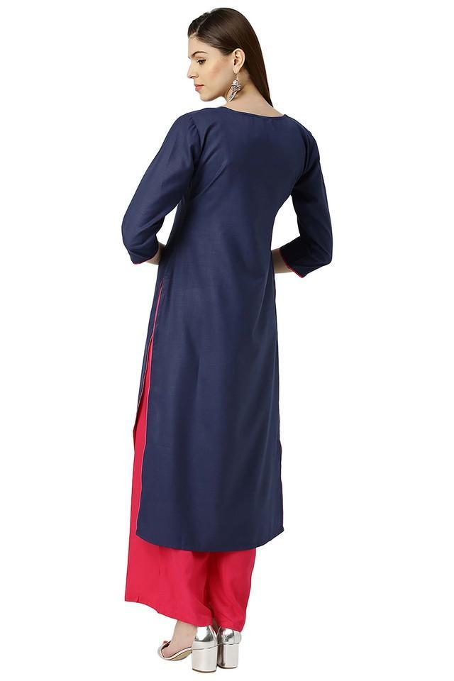 Womens Cotton Solid Striaght Kurta