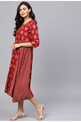 Womens V-Neck Printed Knee Length Dress