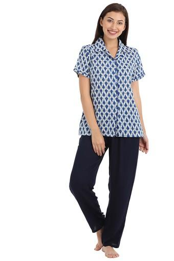 Womens Printed Shirt and Solid Pyjamas Set