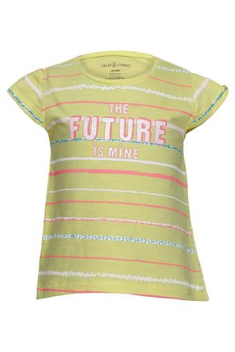 Girls Round Neck Striped Tee