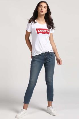 Womens 5 Pocket Vintage Wash Jeans