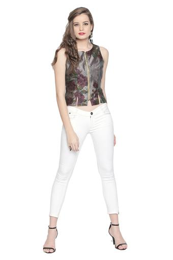 Womens Zip Through Neck Printed Top