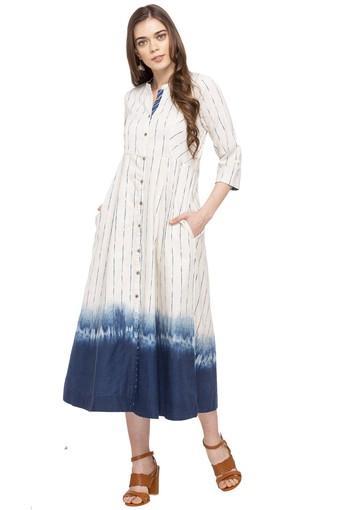 8124c2fe67 Buy RANGRITI Womens Mandarin Collar Striped Shirt Dress