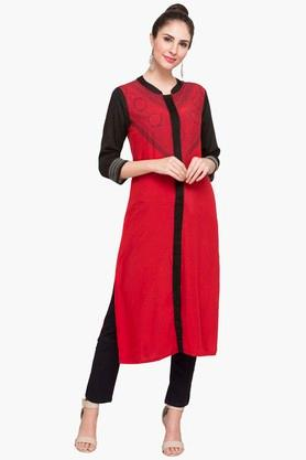 IMARA Womens Mandarin Neck Colour Block Kurta