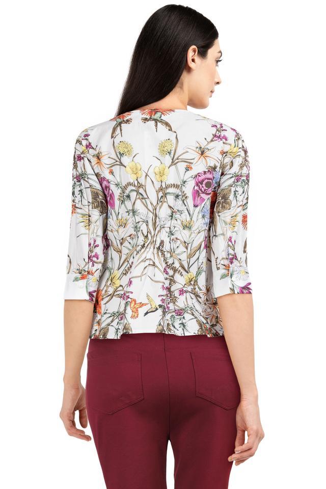 Womens V Neck Floral Print Shirt