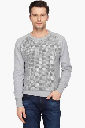 ARROW SPORT Mens Regular Fit Round Neck Perforated Sweater