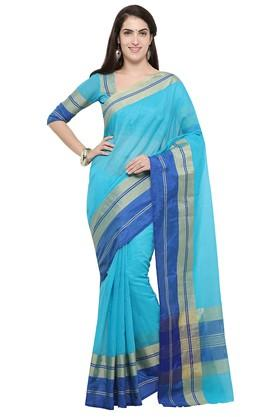 DEMARCA Womens Stripe Gold Woven Saree With Blouse Piece