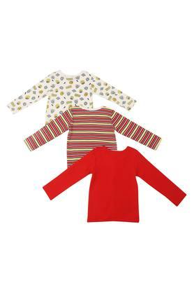 Kids Round Neck Printed Striped and Solid Tee - Pack Of 3