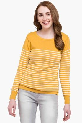 STOP Womens Round Neck Stripe Sweater - 203463030