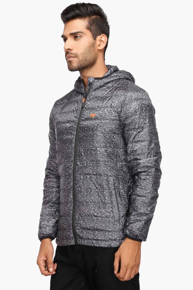 Mens Hooded Printed Quilted Jacket