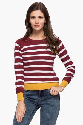 FEMINA FLAUNT Womens Round Neck Stripe Sweater