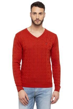 LOUIS PHILIPPE SPORTSMens V Neck Self Pattern Sweater