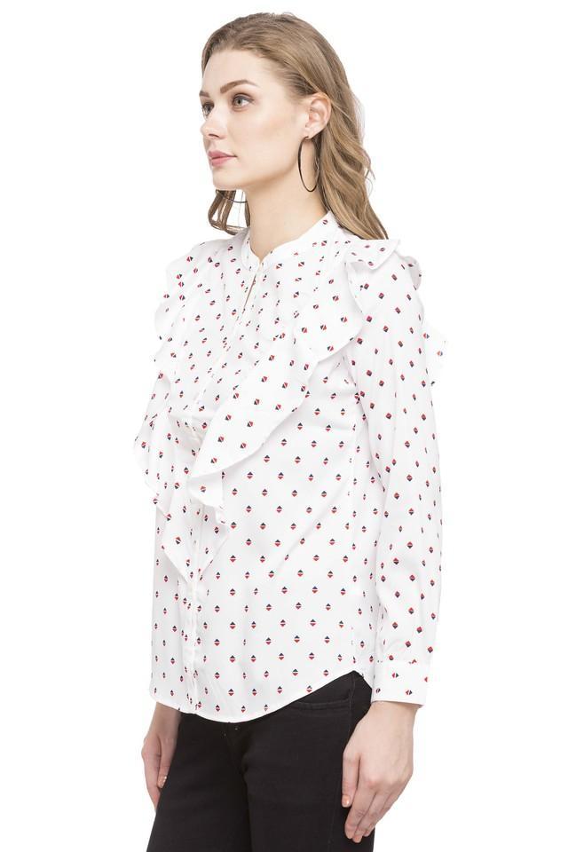 Womens Band Collar Printed Shirt
