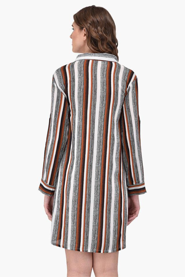 Womens Collared Stripe Shirt Dress