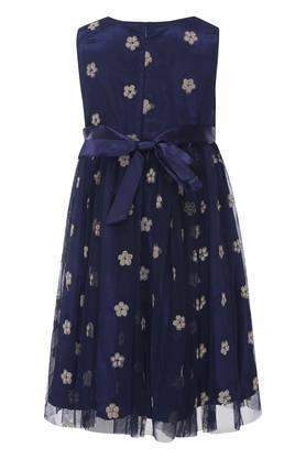 Girls Round Neck Shimmer Flared Dress