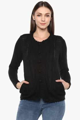 APSLEY Womens Round Neck Solid Cardigan