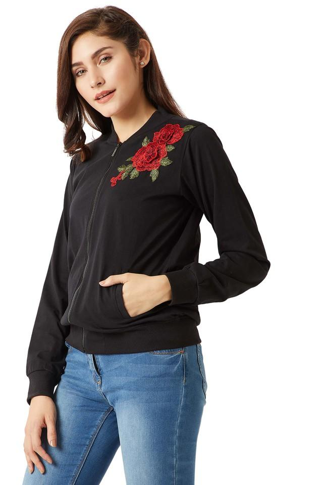 Womens Zip Through Neck Embroidered Bomber Jacket