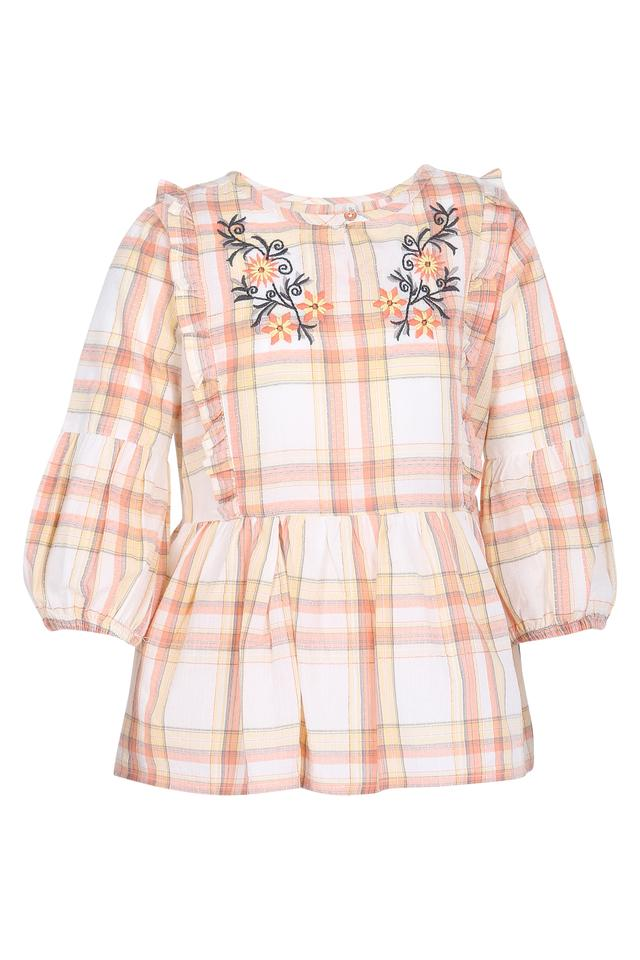 Girls Key Hole Neck Check Embroidered Top