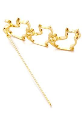 Womens Gold Plated Synthetic Hair Pin