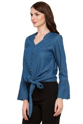 Womens Mandarin Neck Washed Shirt