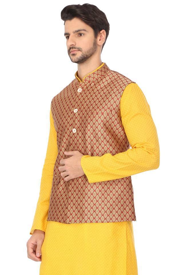 Mens Mandarin Collar Printed Nehru Jacket