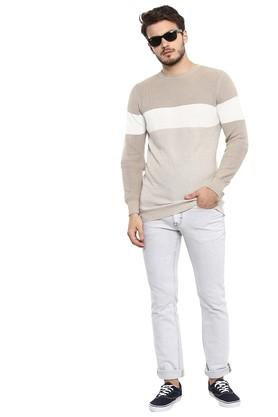 Mens Round Neck Striped Sweater