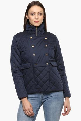 IRIS Womens High Neck Solid Quilted Jacket