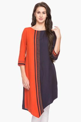 IMARA Womens Round Neck Colour Block Asymmetrical Kurta