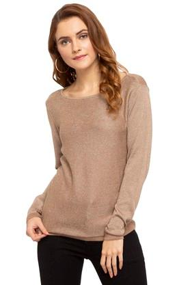 ALLEN SOLLY Womens Round Neck Knitted Pullover