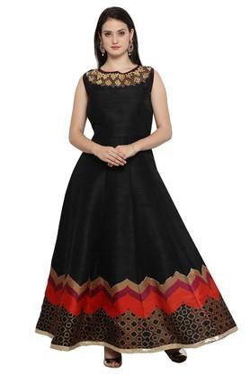 VRITIKAWomens Bhagalpuri Silk Semi-stitched Partywear Gown
