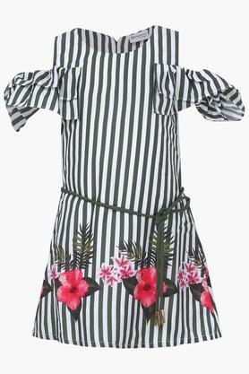 Girls Round Neck Striped A-Line Dress
