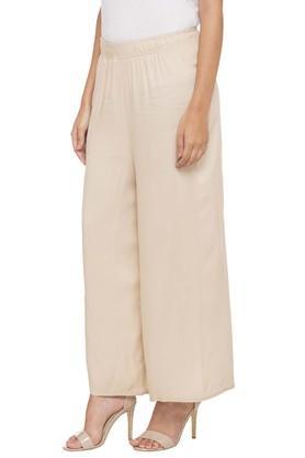 Womens Single Pocket Solid Palazzo Pants