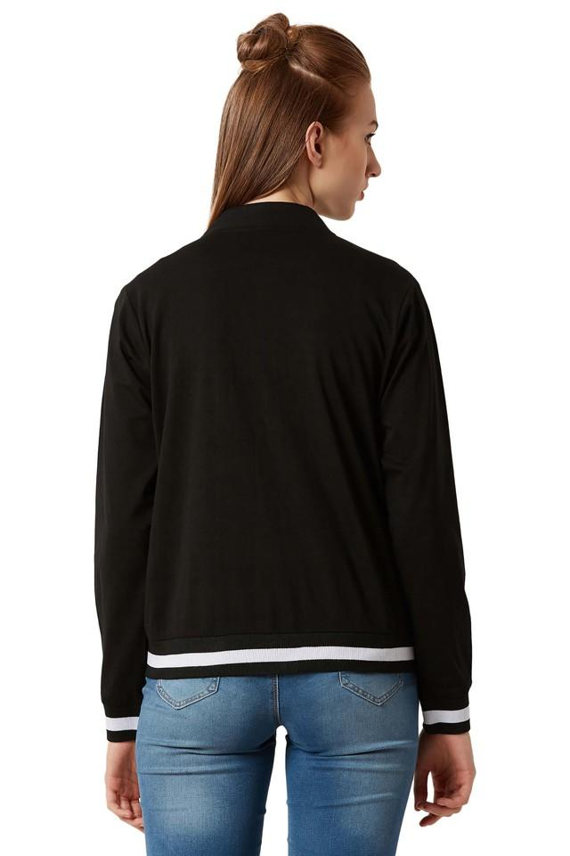 Womens Zip Through Neck Solid Bomber Jacket
