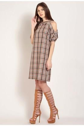 Womens Round Neck Check Shift Dress