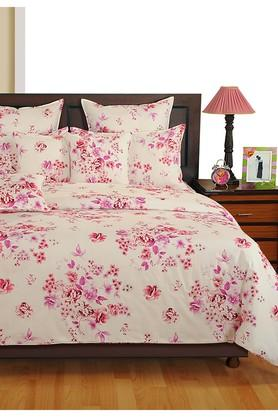 Off White and Magenta Floral Single AC Comfortor