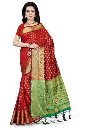 ISHINWomens Gold Woven Saree With Blouse Piece - 204668412_8310