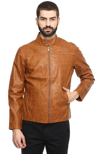 Mens Band Collar Solid Jacket