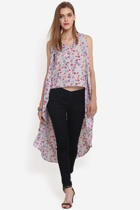 Womens V-Neck Floral Print High Low Top