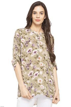 Womens Mandarin Collar Floral Print Kurti