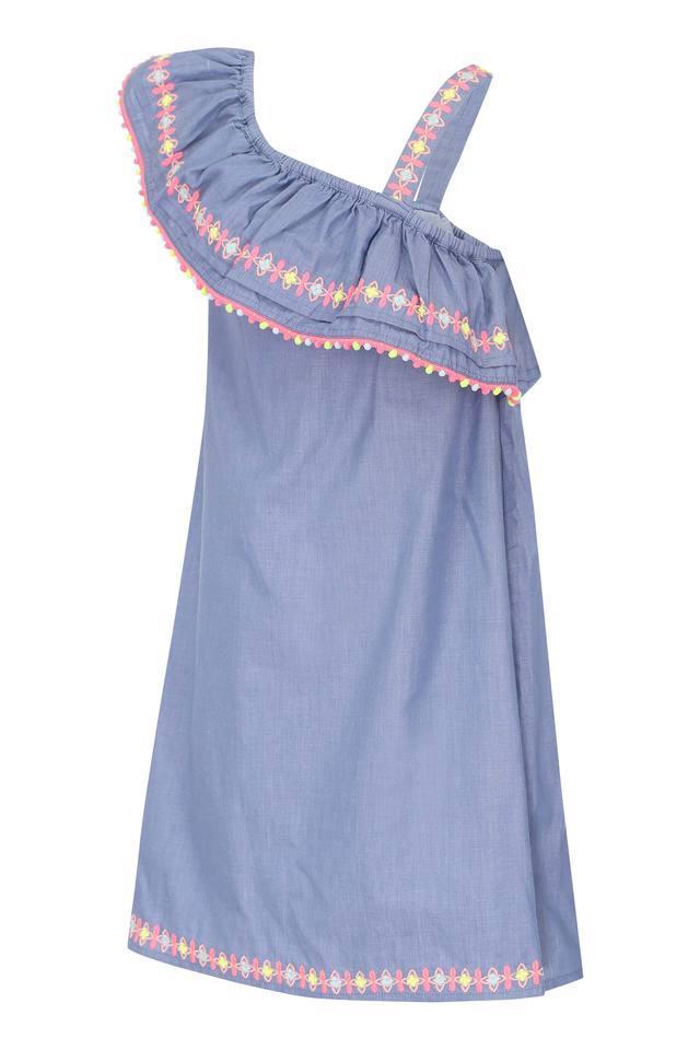 Girls One Shoulder Slub A-Line Dress