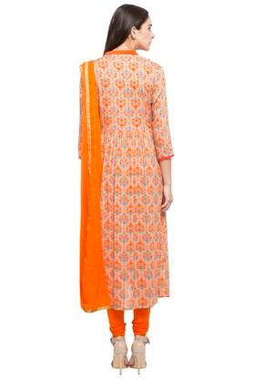 Womens Mandarin Neck Printed Churidar Suit